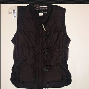 Womens J Crew XS Dark Brown Down Puffer